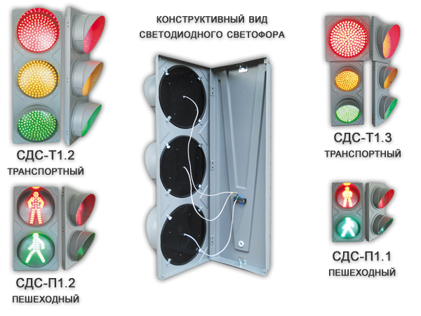 Конструктивный вид светодиодного светофора